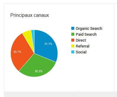 Canaux d'acquisition du trafic - Google Analytics